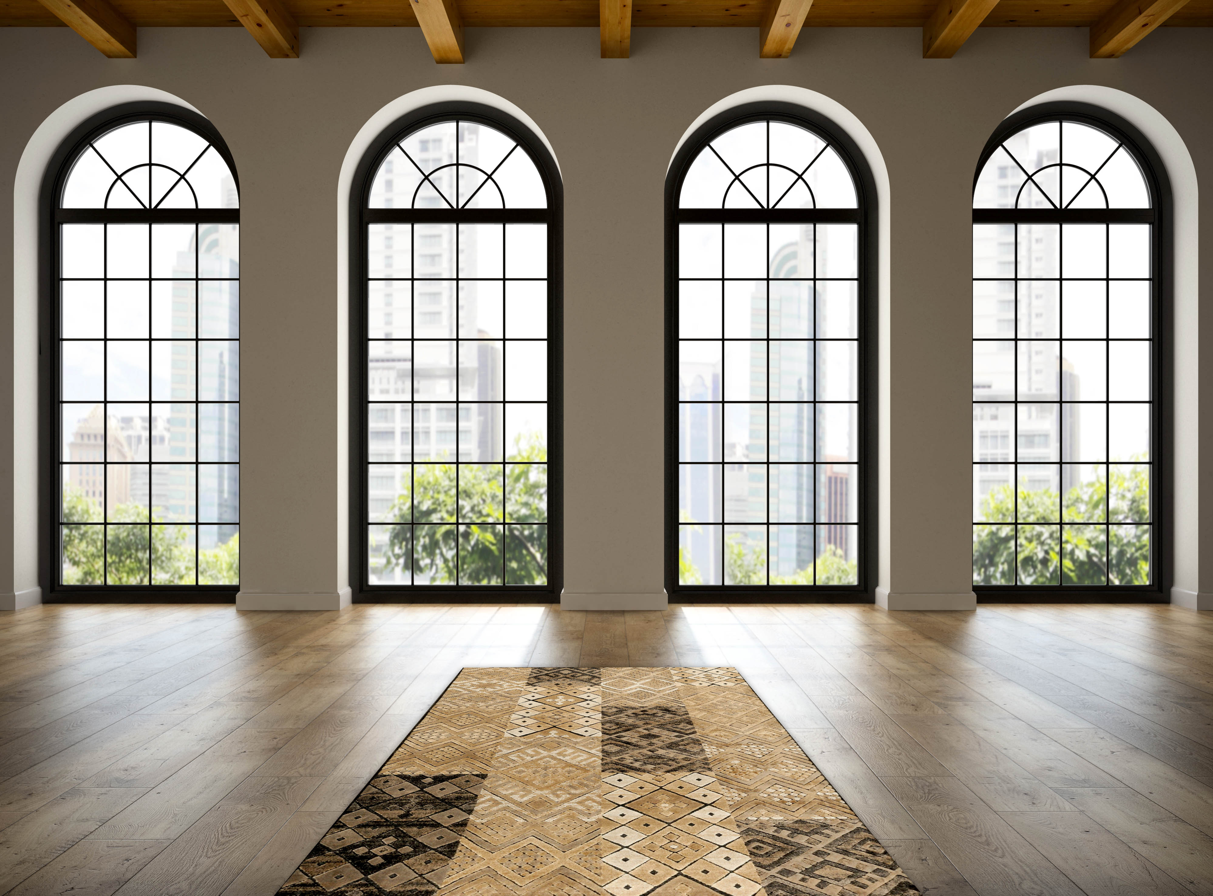 Empty loft room with arc windows 3D rendering 3