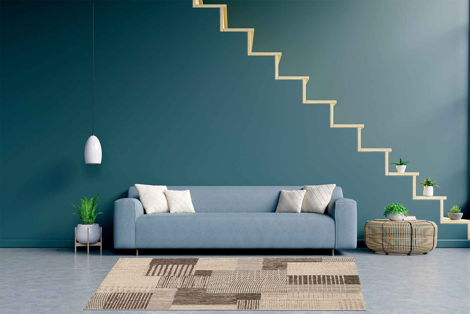 Modern living room interior with sofa and green plants,lamp,tabl