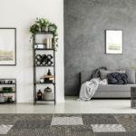 Geometric carpet and gray sofa